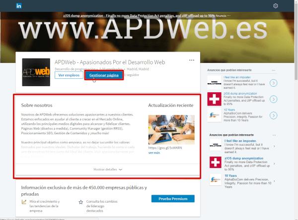 gestionar pagina de linkedin para empresas
