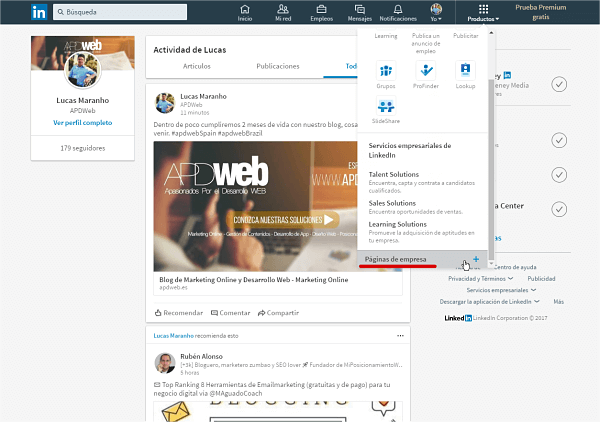 creando pagina de linkedin para empresas